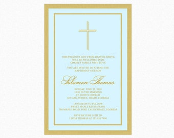 Baptism Boy Invitation, Christening Boy Invitation, Blue, Gold, Personalized, Printable or Printed