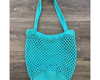 Large Crochet Market Bag | Blue