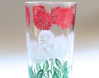 Vintage 1960s Red Green and White Flower Patterned Drinking Glass!