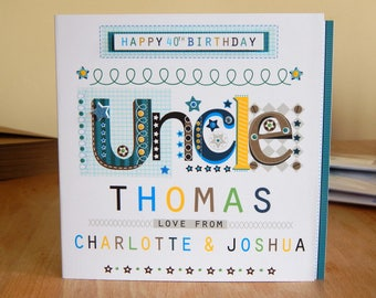 Uncle birthday card special personalised happy birthday greeting card for an Uncle