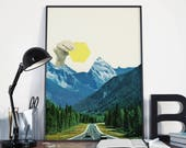 Mountain Art, Surreal Geometric Landscape Print, Collage Art Print - Moving Mountains