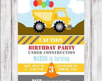 Construction Party Invites