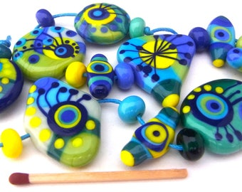 Bright Side - Handmade Lampwork Glass Bead Set (21) by Anne Schelling, SRA