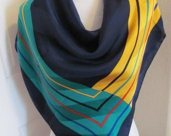 """Colorful Scarf Dark Blue Green Silk Scarf - 35"""" Inch 92cm Square - My Fav"""