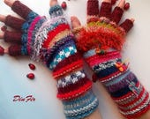 Women Size M 20% OFF Half Fingers Wool OOAK Ready To Ship Mittens Wrist Warmers Winter Arm Gloves Hand Knitted Gift Striped Multicolor 107