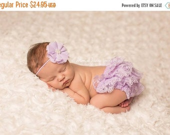 ON SALE Lavender Bloomer and headband set, lace bloomers, baby bloomers, newborn bloomers, photography prop, baby girl prop