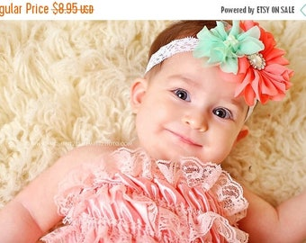 ON SALE Mint and Coral baby headband, newborn headband, toddler headband, newborn photography prop