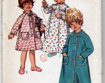 Vintage Toddlers' Robe In Two Lengths And Nightgown Sewing Pattern - Size 1 - UNCUT