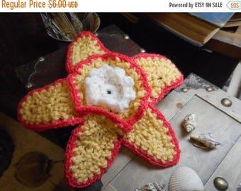 The Starfish Crocheted Boho Beach Cottage Doily Yellow Coral & white handmade beach table flower Summer flower garden beach whimsical ocean