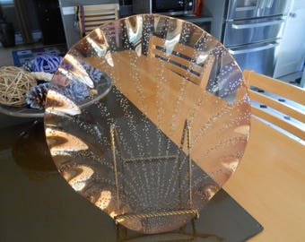 Mercury Glass Iridescent Plate/Decor, Seashell, Clam Shape