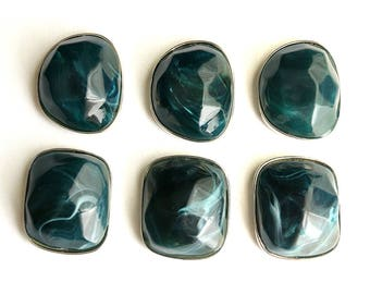 Large Teal Cabochon Beads. Double Drilled Beads. Dark Teal Beads. Resin Beads. 40mm x 33mm