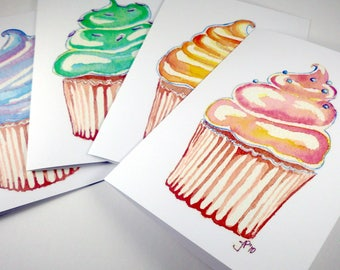 Birthday Cards - Cupcake Greeting Cards, Cupcake Art Birthday Cards, Set of 12
