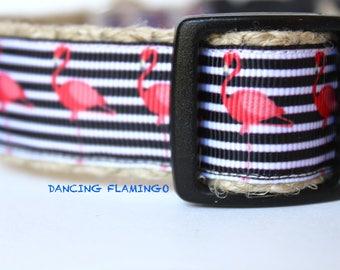 Pink Flamingo Dog Collar, Black & White Stripe Dog Collar, Dog Collar, Adjustable Dog Collar, Pet Accessory, Girl Dog Collar