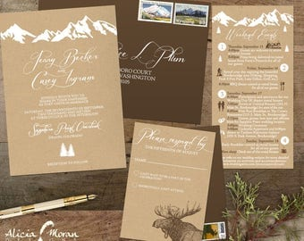 Wedding Invitation Suite: SAMPLE (Mountains, Colorado, Kraft paper, Rustic, Outdoor, White ink, Moose, Itinerary)