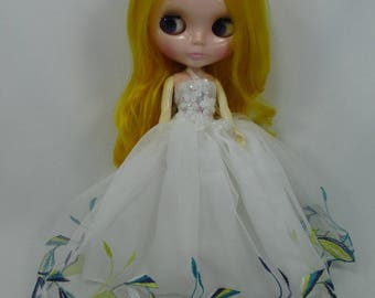 Blythe Outfit Clothing Cloth Fashion handcrafted beads tutu lace gown dress 9-2