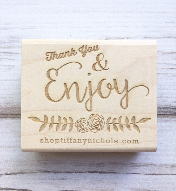 Thank You Stamp Website Business Name Enjoy - Calligraphy Packaging Rubber Stamp