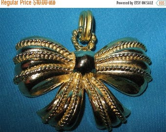 Vintage 50s MINT Large Gold Holiday  Bow Pendant