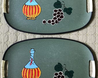 Pair Vintage 60s 70s Still Life Trays Retro Mid Century Modern Japan Decanter Grapes Sixties Seventies