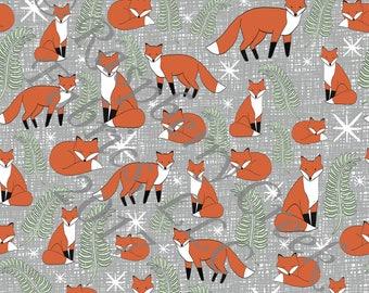 Rust Orange Olive Green and Grey Fox 4 Way Stretch Jersey Knit Fabric, Woodland By Ella Randall for Club Fabrics