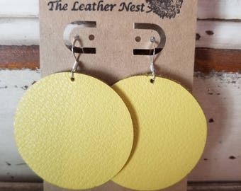 Leather Earrings, Leather Jewelry, Yellow, Sunshine, Sunflower Yellow,  Statement Earrings, 100% Leather, Circle, Drop, Dangle, Lightweight