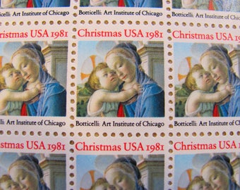 Botticelli Full Sheet of 100 UNused 20c US Vintage Postage Stamps Traditional Christmas Madonna and Child Save the Date Catholic Chicago IL