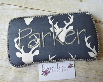 Deer Heads with Antlers on Navy Blue Travel Baby Wipe Case, Personalized Case, Hello Bear Buck Forest Wipe Clutch, Wipe Holder, Monogrammed