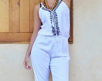 SUMMER 10% OFF // Spring gift ideas| White with Navy Kara Jumpsuit -loungewear,resortwear,Birthdays, Honeymoon, Wedding, Maternity gifts, Ra