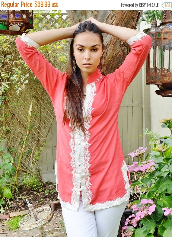 25% OFF Autumn Sale// NEW AUTUMN   Handmade Salmon Pink and White Moroccan Tunic- trend birthday gifts, holiday wear, casual wear, beachwear