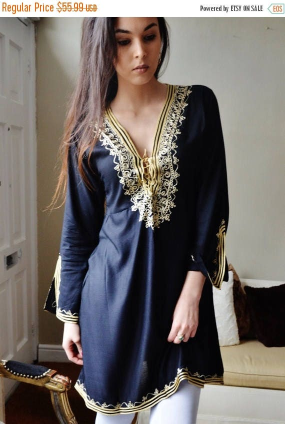 Autumn Dress 20% OFF/ Autumn Tunic Black with Gold Embroidery Traditional Marrakech Tunic Dress - Casual wear, loungewear, resortwear
