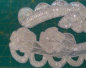 Iridescent floral beaded and sequined applique set of two