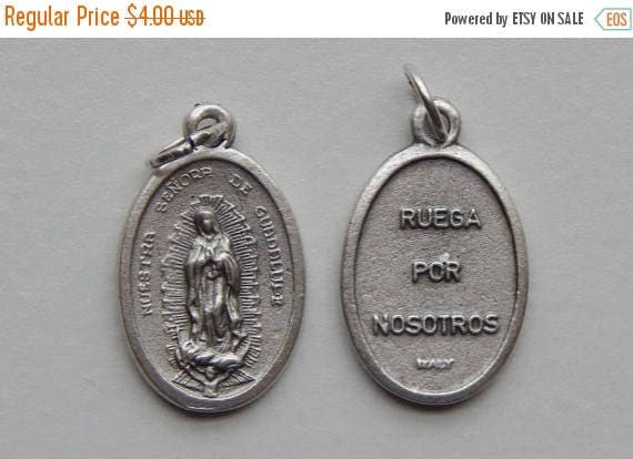 CLOSING SALE 5 Patron Saint Medal Findings - Nuestra Senora de Guadalupe, Die Cast Silverplate, Silver Color, Oxidized Metal, Italy Made, Ch
