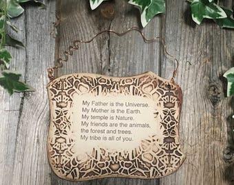 Handmade Nature Lover Quote Ceramic Plaque