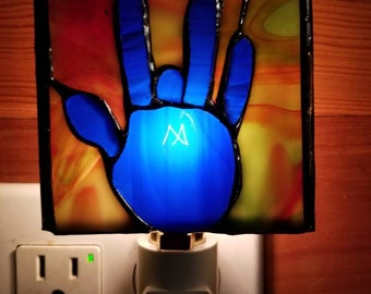 Hand-made Stained Glass Jerry Garcia Hand Print Nightlight