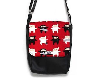 Ninja bag, messenger bag, vegan satchel, crossbody bag, vegan messenger bag, minimalist bag, black purse, everyday bag, vegan cross body bag