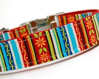 Handmade Dog Collar - Stiped Garden - Custom Made Rainbow Dog Collar with bright orange flowers and whimsy - Happy Dog Collar