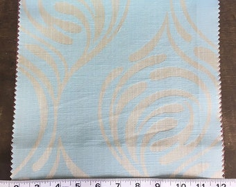 Custom Curtains Valance Roman Shade Shower Curtains in Light Aqua Mid Century Abstract Pattern Fabric