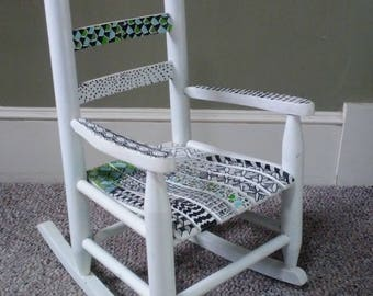 Childrens Rocking Chair Painted and then Zentangled