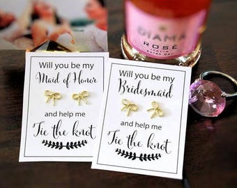 Bridesmaid Proposal Gift, Ask Bridesmaid, Help me tie the knot, Knot Earrings, Gold Knot Earrings