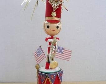 Upcycled Soldier Ornament, July 4th Decoration, Red White and Blue, Vintage Chenille Ornament