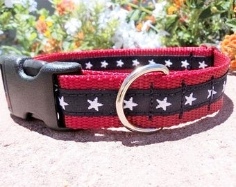 """Patriotic Dog Collar 3/4"""" or 1"""" wide Side Release buckle American Stars - upgrade to martingale style"""