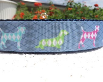 """Sale Dog Collar Argyle Dogs Quick Release buckle or Martingale collar style 1"""" wide adjustable - read description within for sizing"""