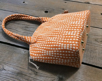 Orange and White Dots Zippered Satchel