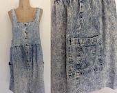 30% OFF 1980's Acid Wash Denim Jean Jumper Dress Size Medium Large by Maeberry Vintage