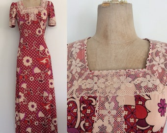 1970's Slinky Nylon Floral Print Maxi Dress Size XS Small by Maeberry Vintage