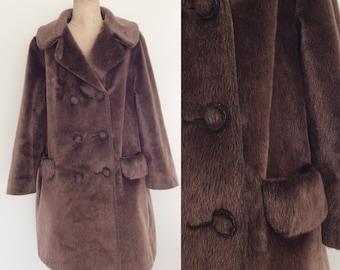 1960's Brown Faux Fur Plus Size Coat Size XL XXL 2XL by Maeberry Vintage