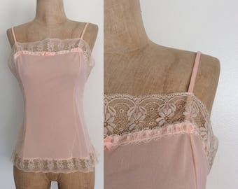 1960's Pink Nylon & Lace Camisole Vintage Tank Top Size XS Small by Maeberry Vintage
