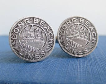 LONG BEACH, CA Token Cuff Links - Repurposed Upcycled Vintage Silver Tone Coins