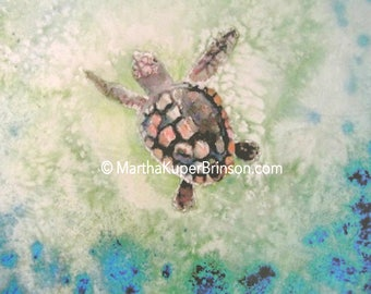 Large turtle watercolor giclee print, loggerhead sea turtle art, 16x20 matte, beach cottage decor, looks like original watercolor painting