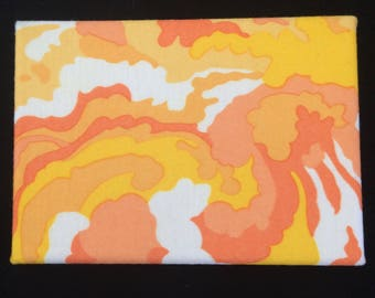 Citrus Cloudburst - Wall hanging featuring psychedelic print vintage 70s fabric