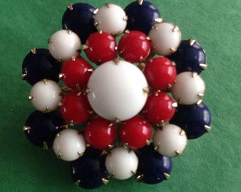 Gorgeous classic patriotic red white and blue glass cabochon brooch